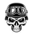 biker skull vector image vector image