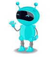 blue cute robot isolated on white background vector image