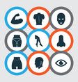 body icons set with nose arm back and other view vector image