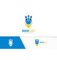 bowling and map pointer logo combination vector image