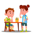 boy drawing with colored pencils and offended girl vector image vector image