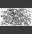 brussels belgium map in black and white color vector image vector image