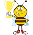 Bumble Bee Cartoon Holding a Trophy vector image vector image
