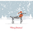 christmas card santa dog in forest symbol of vector image vector image