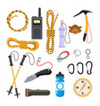 climbing icons set rock trekking equipment vector image vector image