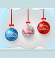 colorful christmas balls with greeting text vector image