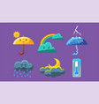 cute weather icons set forecast meteorology vector image