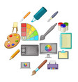 drawing and painting tool icons set cartoon style vector image