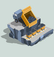 dump truck ships coal into coal carts isometric vector image vector image