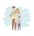 family father mother their children boy and baby vector image