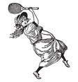 girl with badminton racket vintage vector image