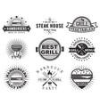 grill or bbq vintage label badge set vector image vector image
