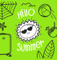 hello summer concept with sun hand drawn vector image