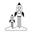 launch rockets spaceship vector image
