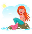 little joyful mermaid sitting on a stone vector image vector image
