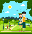 man and woman - couple in love in city park vector image