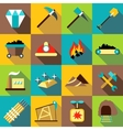 Mining production icons set flat style vector image vector image