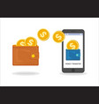 money transfer between wallet and smartphone flat vector image
