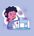 online doctor patient running nose medicine and vector image