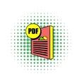 PDF file icon in comics style vector image vector image