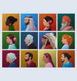 people different cultures profile faces vector image vector image