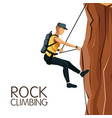 scene man mountain descent with harness rock vector image vector image