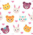 seamless pattern with cat hare bear faces vector image