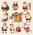Set of Santa Clauses ready for christmas vector image