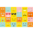 Set square emoticons with different emotions vector image