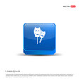 theatrical masks icon - 3d blue button vector image