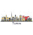 turin italy city skyline with color buildings vector image vector image