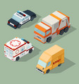 urban cars isometric garbage truck mail van vector image vector image