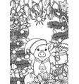 winter holiday coloring page with pig symbol 2019 vector image vector image