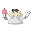 with ice cream open envelope greeting posters on vector image vector image