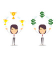 woman holding cup award money prize vector image vector image