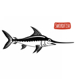 Swordfish black and white vector image