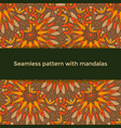 seamless pattern with colored mandalas indian vector image