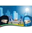 Arab women and the ancient Palace on a background vector image vector image