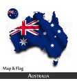 australia map and flag waving textile design vector image