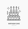 birthday cake line icon logo for bakery vector image vector image