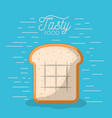 bread slice tasty food poster in blue background vector image