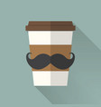 coffee cup icon with mustache flat icon vector image