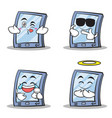 collection set tablet character cartoon style vector image vector image