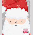 cute santa face snowflakes merry christmas cards vector image