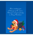 Cute Teddy Bear in a Christmas Hat Sitting near vector image vector image