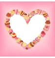 Desserts heart frame on pink background St vector image