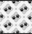 dog paw prints seamless pattern with lines vector image