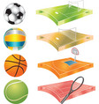 football basketball volleyball tennis field and vector image vector image