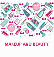 hand drawn pattern of make-up beauty and healthy vector image vector image