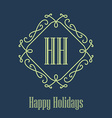 Happy holidays festive Card monograms style vector image vector image